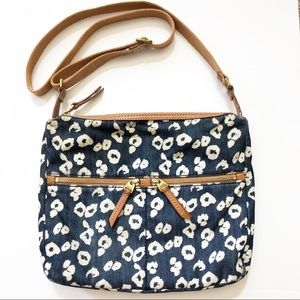 Fossil Erin Fab Crossbody Purse Denim Cheetah